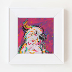 Pink Boho Cockatoo 8 x 8 Inches Print.