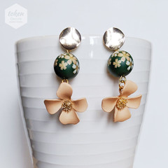 Gold Wafer Stud with Matte Green Gold Sakura Floral Earrings