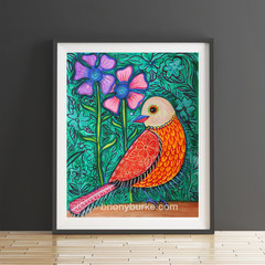Boho Bird with Green Background 8 x 10 Inches Print.