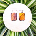 Small Orange Fabric Earrings