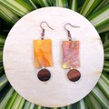 Tie Dye Wooden Bead Earrings