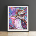 Purple Boho Kooka Kookaburra Circle 8 x 10 Inches Print.