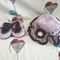 Tea Party Hat & Bootee Set