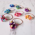 Colourful boho seed beaded wire ball knot ring , Pink Blue Green Purple Orange