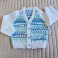 SIZE 3-9 mths - Hand knitted cardigan in White & multi color by CuddleCorner