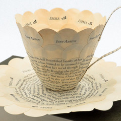 Emma - teacup made from old book pages - literary curio
