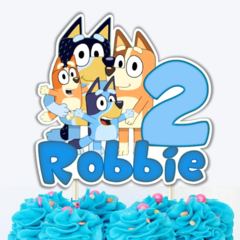 Bluey Family Personalized Edible Icing Cake Topper PRE CUT #753