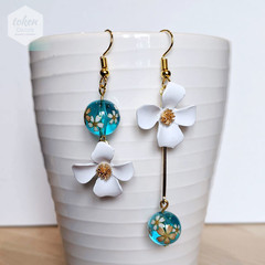 Gold dangle White Flower with Translucent Turquoise Blue Sakura Earrings