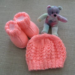 Hand knitted beanie and 'snuggly boots',