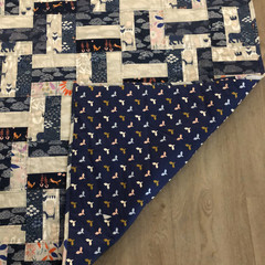 Organic Cotton Baby quilt or Play Mat (reversible) - blue and grey - patchwork