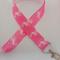 Pink pelican print lanyard / ID holder / badge holder