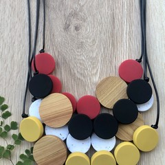 Short/Long Silicone and Wood Beaded Necklace black mustard red white
