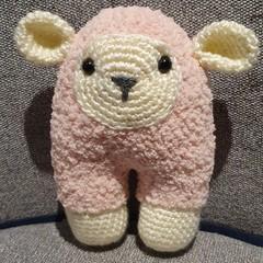 "Handmade Crochet Fluffy Sheep Toy ""Pinky"""