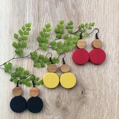 Black Mustard Red Dangle drop earrings