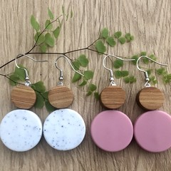 Blush and Speckled White Dangle Drop silver hook Earrings