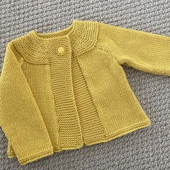 Yellow Cardigan - Size 6-12 -  Wool cashmere silk yarn  - Hand knitted