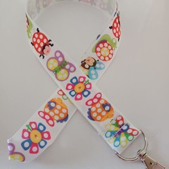 Bright animal and insect print lanyard