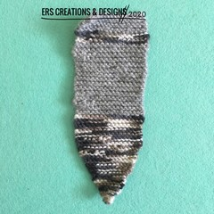 Grey and White Knitted Bookmark