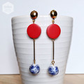 Blue & White Chinoiserie Beads with Red Wood Dangle Earrings.