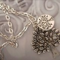 tree of life necklace 2 tibetan silver tone charms  silver tone chain necklaces