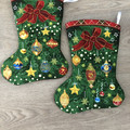 Christmas stocking - Christmas ornaments and ribbon