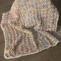 Baby blanket - hand crocheted - multi coloured pastels