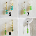Minimal tiny cut glass bead short drop earrings , Pink Blue Green Red Purple