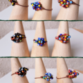 Unique Artsy Colourful seed beaded wire ball knot copper wire ring , Rainbow