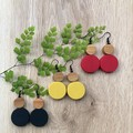 Black Mustard Red Dangle drop earrings