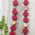 Quality Red disc beaded long necklace with wood