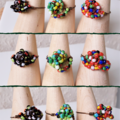 Artsy Colourful Tribal style seed beaded wire knot statement ring , Red Rainbow