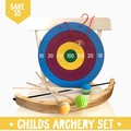 Handmade Childs Archery Set with Bow & Arrow and bullseye target..