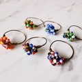 Unique Boho seed beaded wire ball knot wire ring , Green White Blue Red Orange