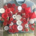 50 Assorted buttons red White  tones new old and vintage mix