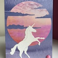 Unicorn sunset card