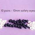 10mm safety eyes, black doll making eyes, crochet, amigurumi, sewing