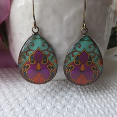 Bollywood Turquoise and Cerise Print Earrings