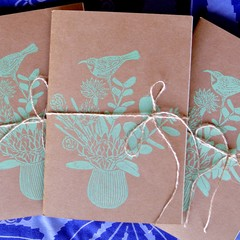 A5 notebook 120 lined pages / Hand printed cover / Recycled Paper / Australian B