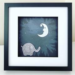 Crochet elephant frame 24x24cm