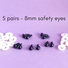 8mm black safety eyes, 5 pairs of safety eyes, crochet, amigurumi, sewing