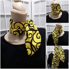 Ruby Pocket  Scarf Yellow with black swirl