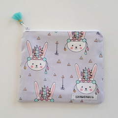 Zipper Pouch - Tribal Bunny