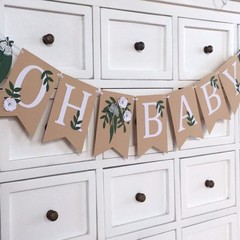 OH BABY Gum Leaf Greenery Banner leaves, white flowers. Baby shower banner.