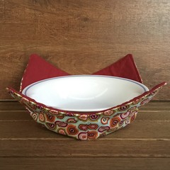 Microwave Bowl Holder - Floral Aqua/Red