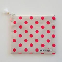 Zipper Pouch - Fluro  Pink Spot