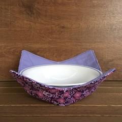 Microwave Bowl Holder - Purple Flowers