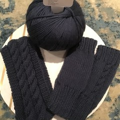 Fingerless gloves with cable and matching ear warmers
