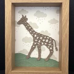 Crochet giraffe frame 17.5x 22.5cm