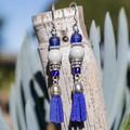 Elegant Blue Tassel Dangle Earrings