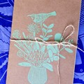 A5 notebook 120 lined pages / Hand printed cover / Recycled Paper / Teacher gift